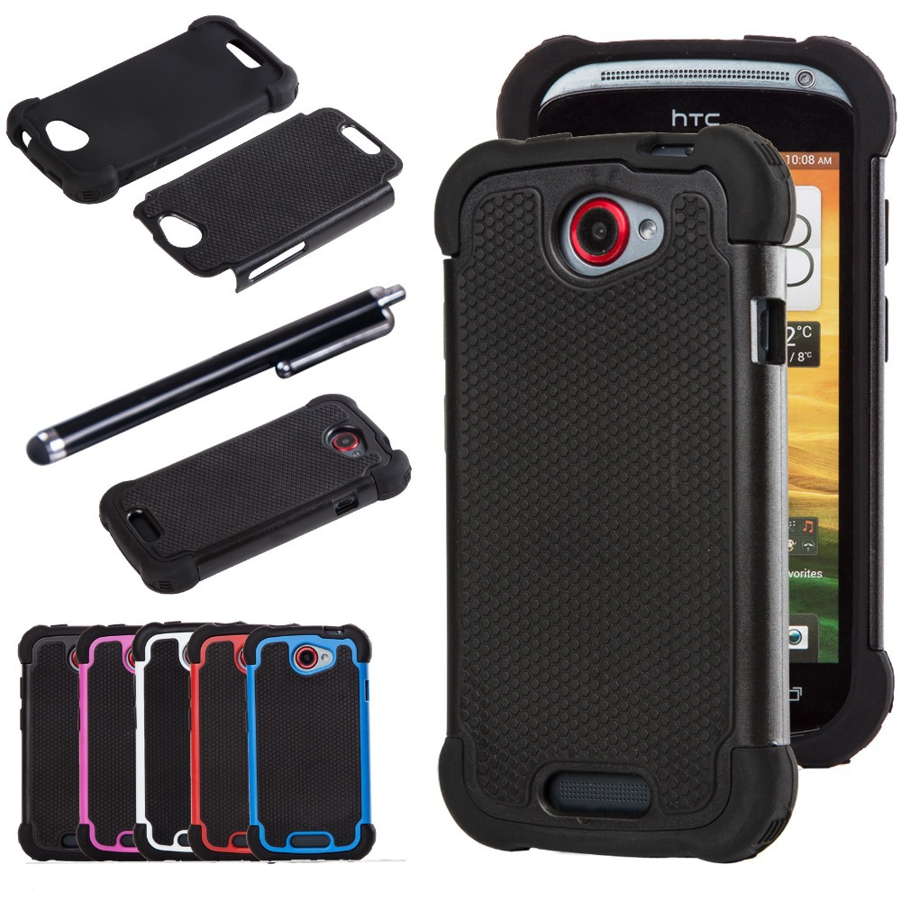 Dual Layer Impact Heavy Duty Rugged Hybrid Hard Case Cover HTC ONE S Silicone Shell W/Stylus Pen - Lucky store