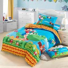Good quailty  anime 100 cotton Mario bedidng set reactive print 100 cotton Kids Boys Duvet cover oil painting/cotton bed sheets(China (Mainland))