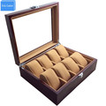 Watch Store Display 8 Slots Wristwatch Case Box Large Wood Paint Inner Velvet Pillow Display Jewelry