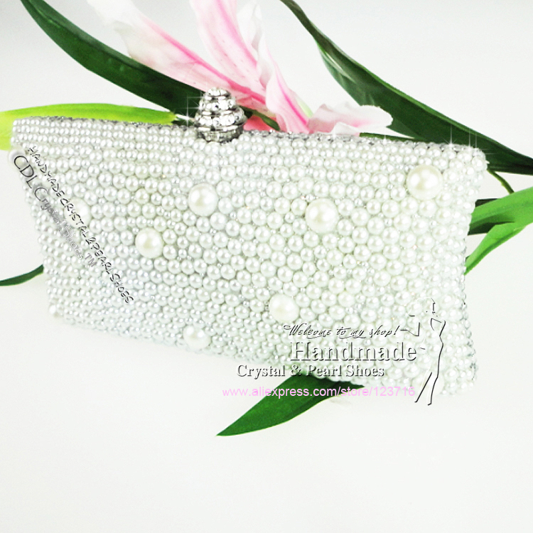 bags women wallet Fashion Style Sparkle Spangle clutch purse evening clutches lady wedding Handbag Ivory pearls - Handmade Crystal & Pearl Shoes store