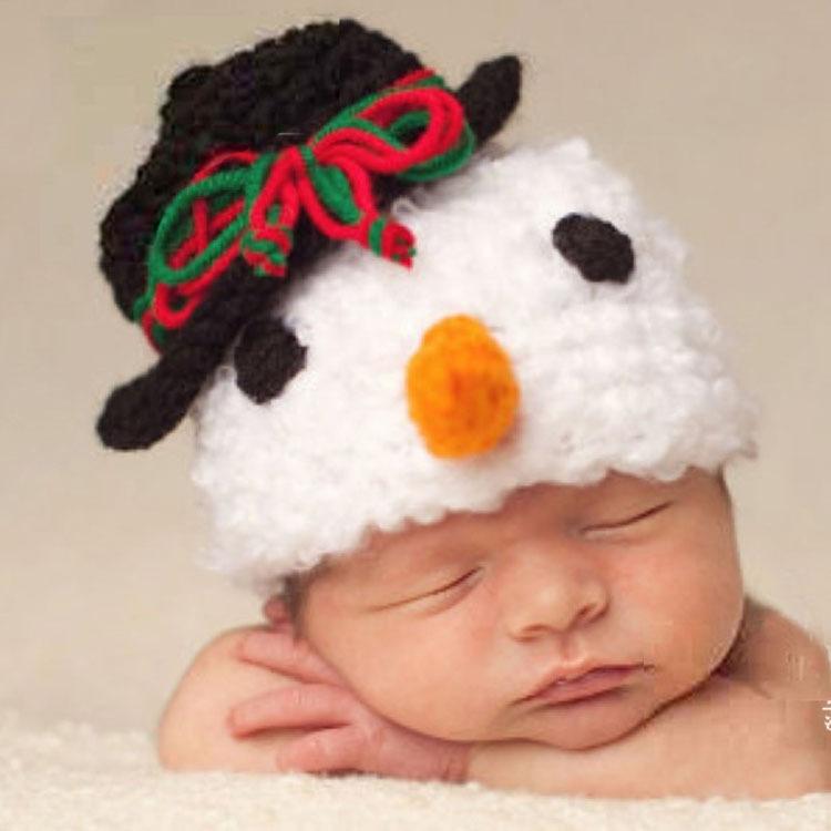 Latest Baby Snowman Crochet Hats Children Kids Photo Props Christmas Holiday knitting Winter beanies 1pc MZS-023(China (Mainland))