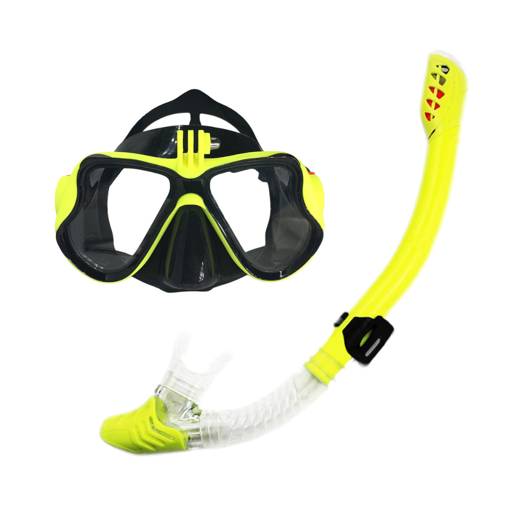 VILISUN Scuba Diving Mask Snorkel Set With Gopro Camera Mount Snorkel Goggle for Adult Dry Anti Fog Mask with Breathing Tube(China (Mainland))