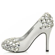Fashion Wedding Bridal Shoes Red Rhinestone High Heel Shoes Evening Party Dress Shoes Match wedding dress Prom Shoes for Mom(China (Mainland))