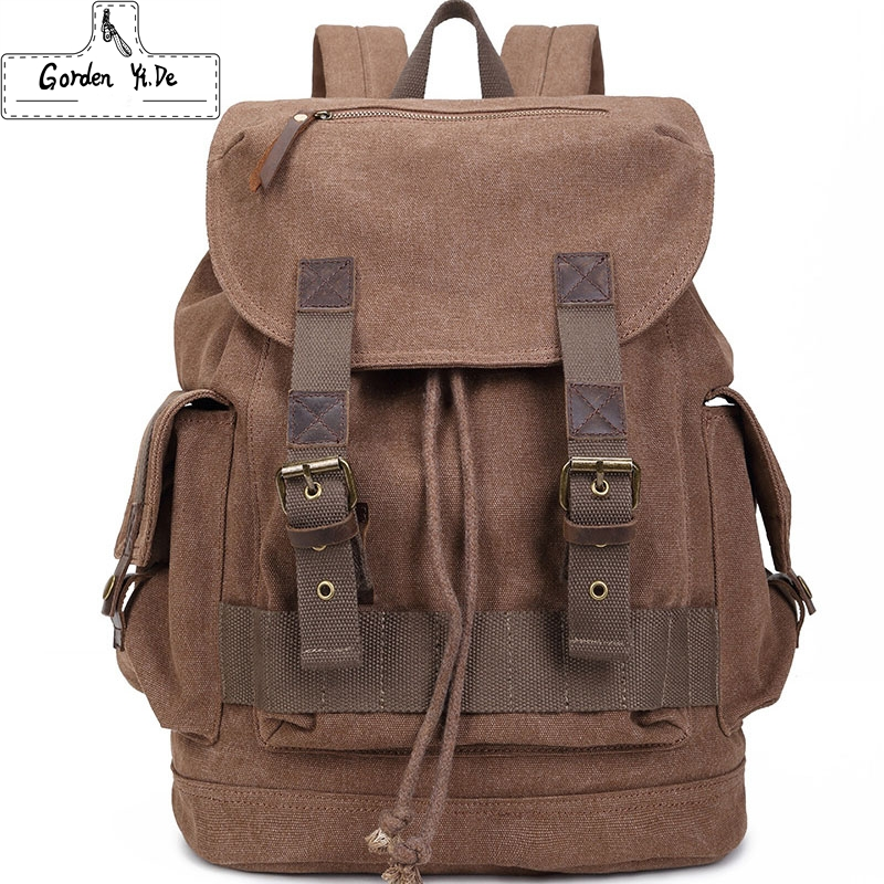Designer Men's Backpack Cow Leather Canvas Backpack Men Commercial Casual Backpack School Backpacks for Men Travel Vintage Bags(China (Mainland))