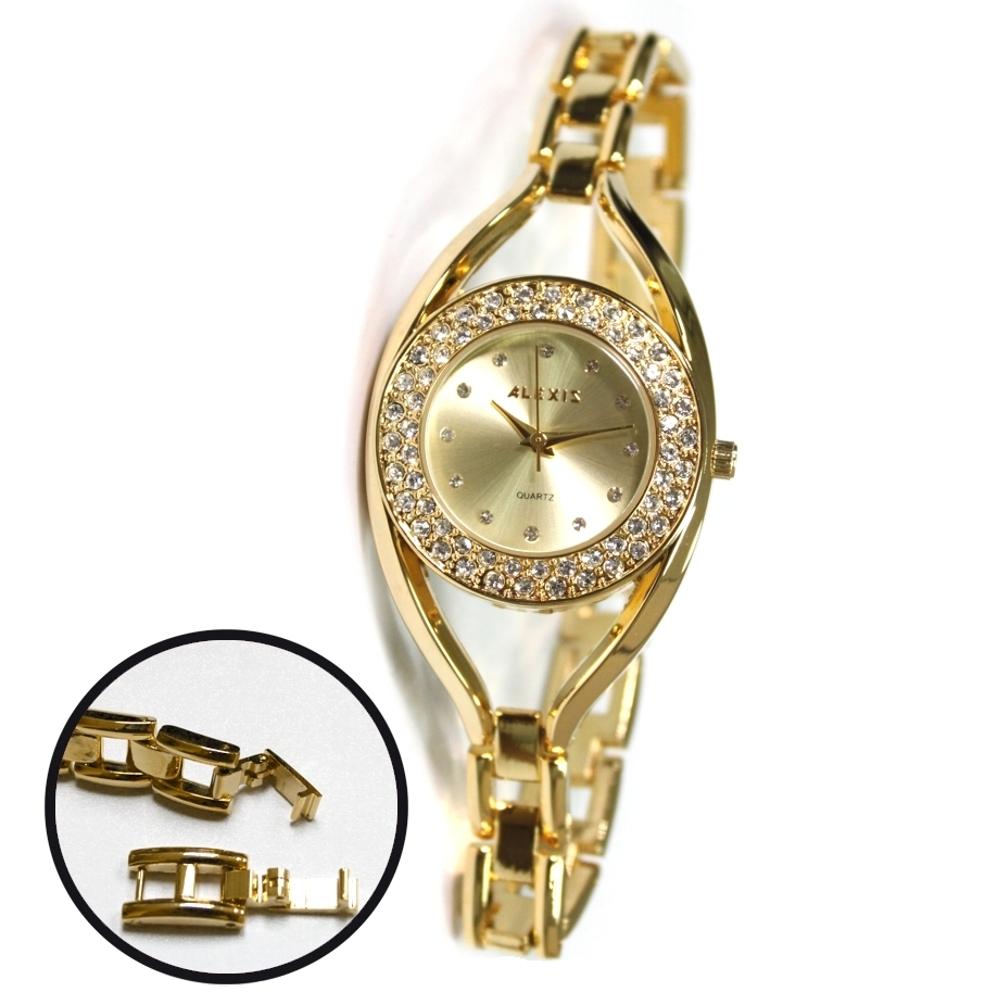 FW819C New Water Resist Gold Tone Dial Women ALEXIS Brand Crystal Bracelet Watch<br><br>Aliexpress