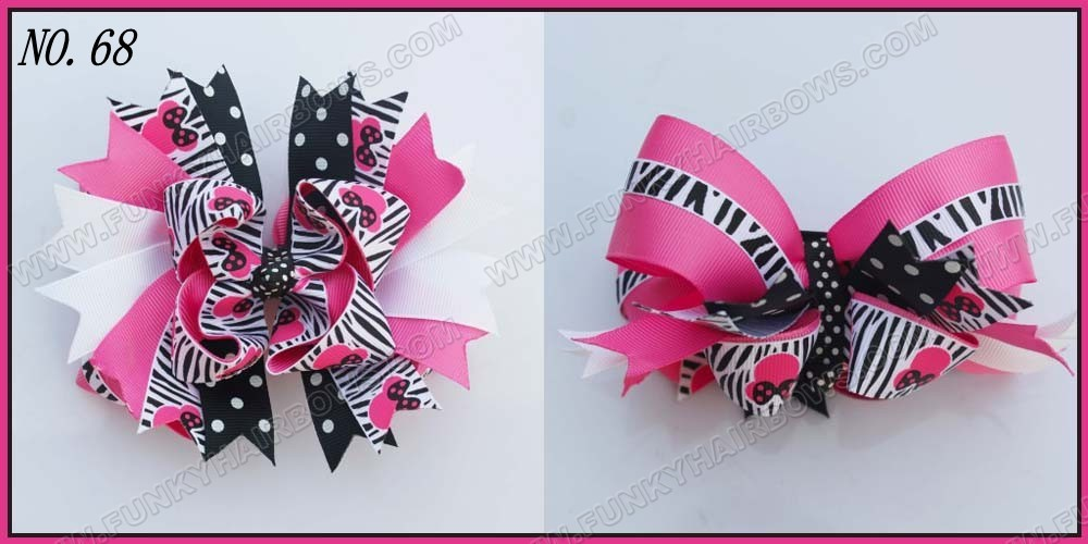 """free shipping 145pcs 6"""" big layered boutique bow animal print bows accessories popular hair clips newest big bows(China (Mainland))"""