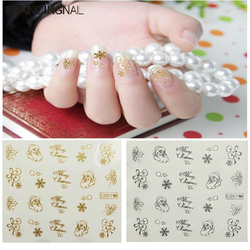 1 Sheet Christmas Nail Art Water Decals Transfer Stickers Letter Santa Claus Xmas Pattern Sticker For DIY Fingernail Beauty(China (Mainland))