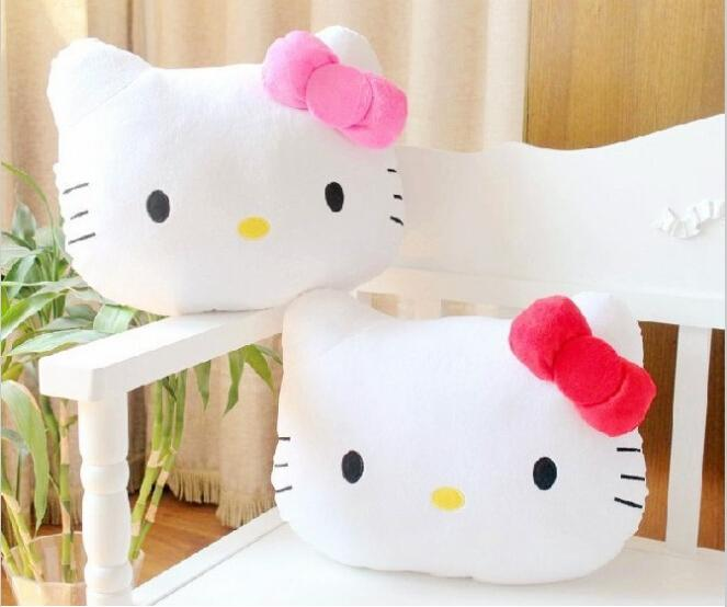 High Quality Lovely Hello Kitty Pillow Soft Stuffed Plush Hello Kitty Cushion 2 color plush toys AY0528(China (Mainland))