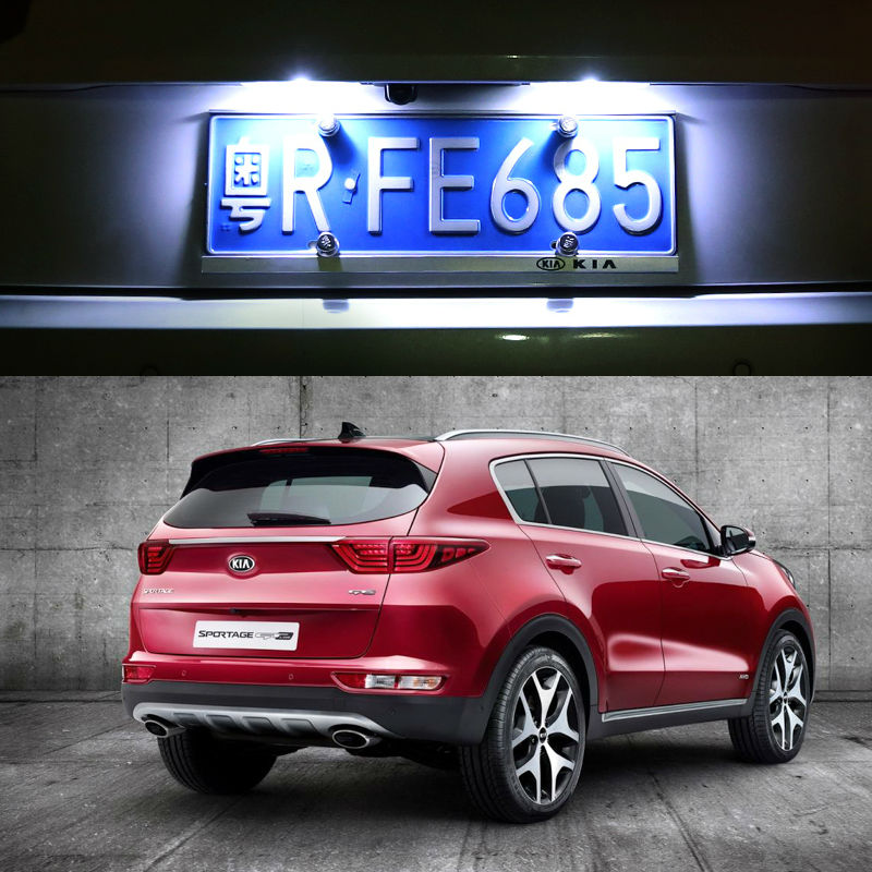 2x LED Number License Plate Light Lamp For kia sportage 2016 2017 KX5 Auto Accessories(China (Mainland))