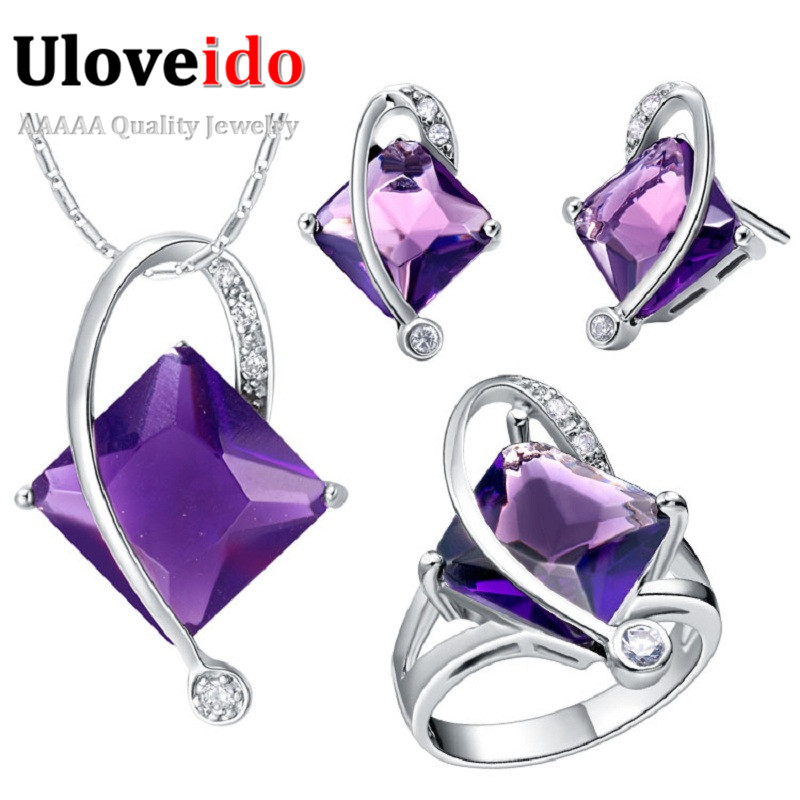 Wholesale Purple/Blue Red Women Wedding Jewelry Sets Stud Earrings Necklace Ring 925 Silver Simulated Diamond Jewelry Ulove T295<br><br>Aliexpress