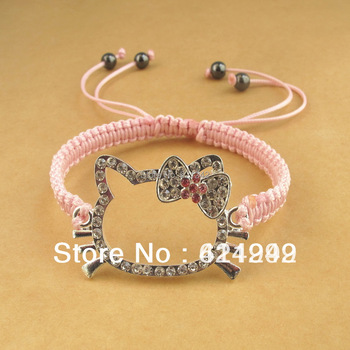 Free Shipping HOT Hello Kitty Shambala Bracelet 2014 Fashion Happy Girl Charm Bracelets Lovely Hand Chain HKB10