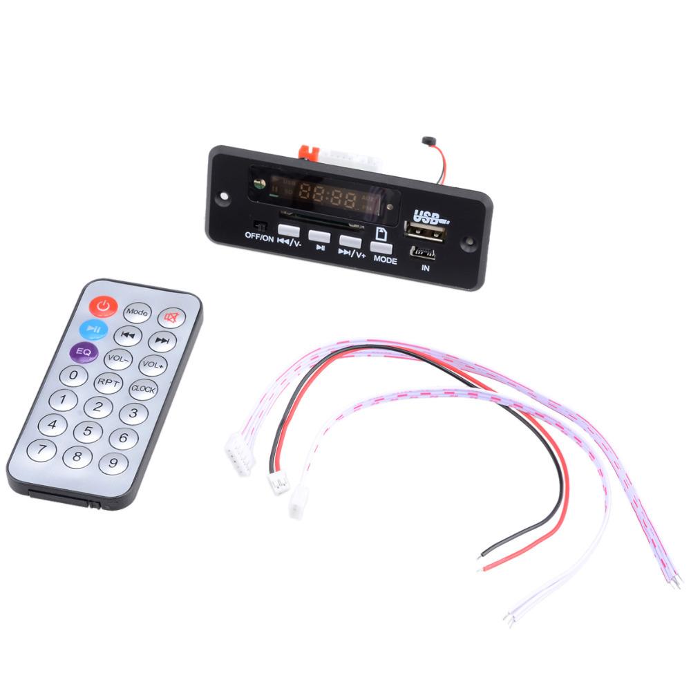 Bluetooth 3.0 Stereo MP3/WMA/WAV Audio Decoder Board Module w/FM/Remote Control 3 Connection cables Black(CR2025) - Landygaga Gadgets Store store