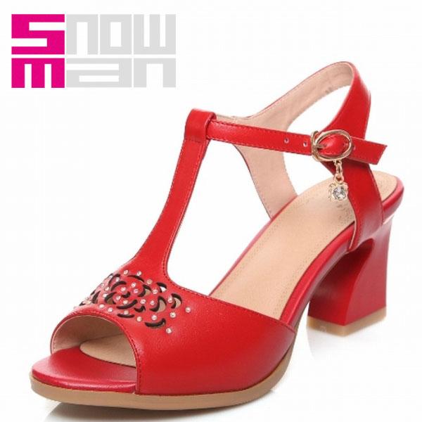 New Genuine Leather T-Strap Sandals Fashion Slingbacks Cutouts Rhinestone Shoes Woman Peep Toe Hoof Heels Shoes Summer Sandals
