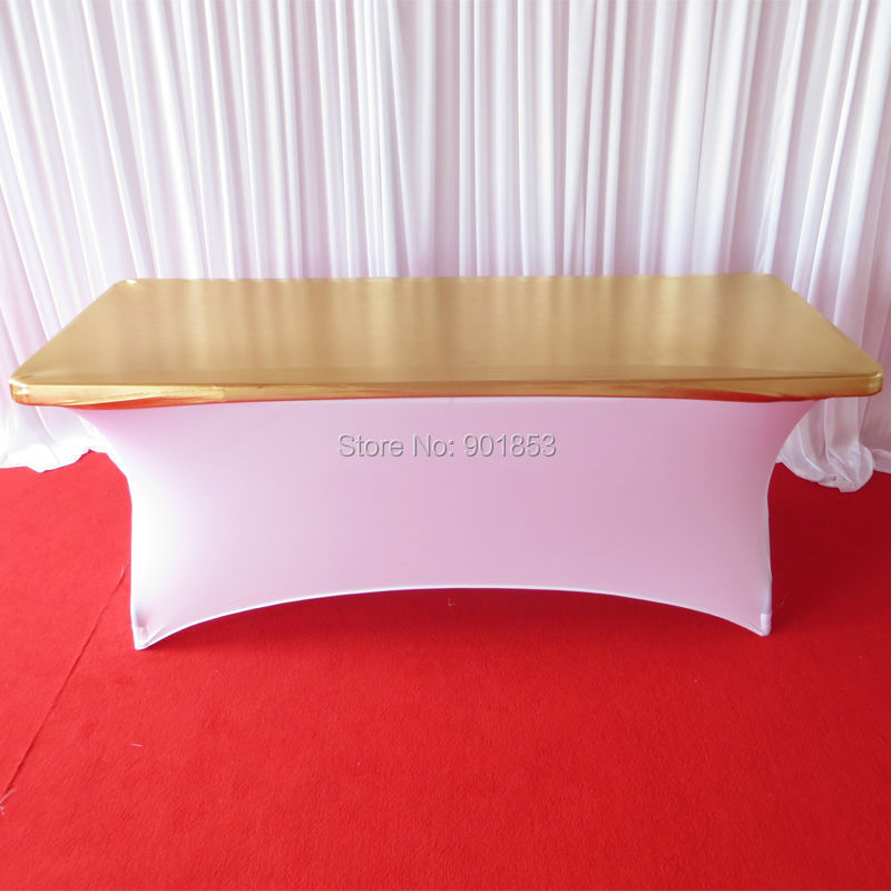 6ft rectangle metallic gold spandex table topper cover(China (Mainland))