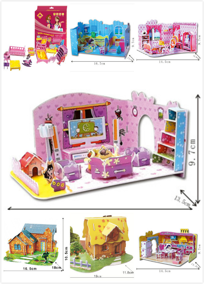 2015 Hot Selling Puzzles Kids Educational Toys Fancy Toy For Children DIY 3D Jigsaw Puzzle For Children Dream House Room(China (Mainland))
