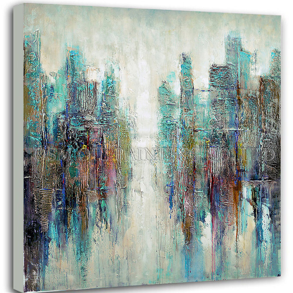 Online get cheap toile turquoise alibaba group - Peinture a l huile abstraite ...