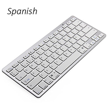 Spanish Bluetooth V3.0 Keyboard Ultra Slim Wireless Keyboard 78-Key for Windows PC Android iOS Tablet Smartphone – Silver