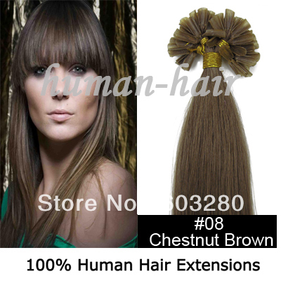 Free shipping Natural human hair 16182022 U tip 0.5g.0.6g.1.0g #08 Chestnut brown color 100pieces<br><br>Aliexpress