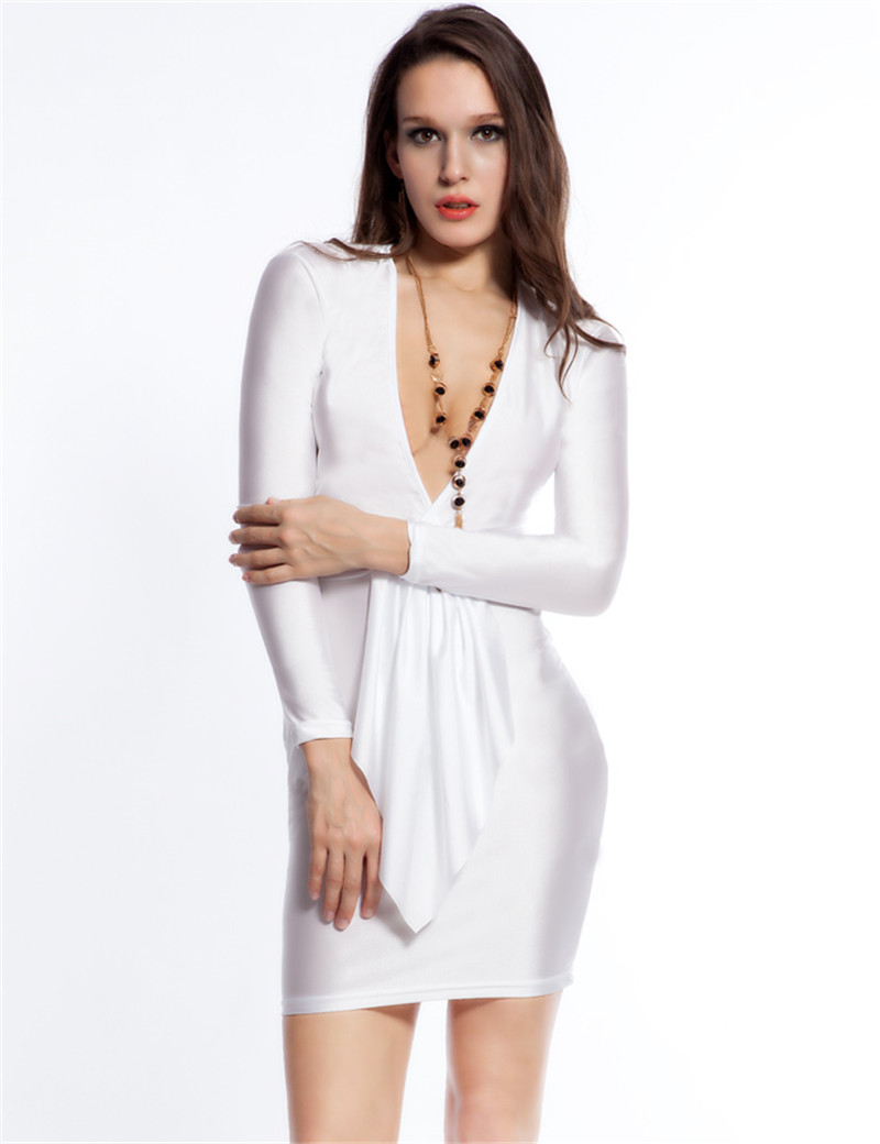 RW7738 White/yellow/green/orange/deep pink erotic mini dress hollow out backless ladies dresses hot sale deep v bodycon dresses(China (Mainland))