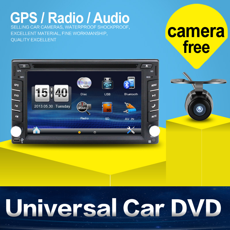 100% New universal Car Radio Double 2 din Car DVD Player GPS Navigation In dash Car PC Stereo video+Free Map+Free Camera(China (Mainland))