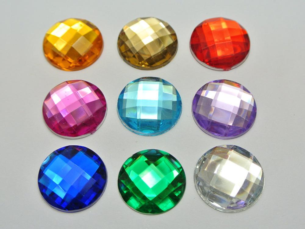 50 Mixed Color Acrylic Flatback Rhinestone Round Gem Beads 20mm No Hole(China (Mainland))
