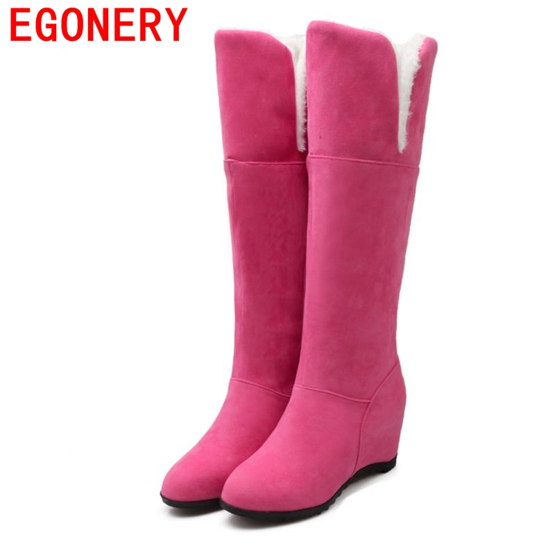 2016 flock uppers nubuck pu leather women winter boots flats with knee high boots lady shoes fashion snow boots botas femininas<br><br>Aliexpress