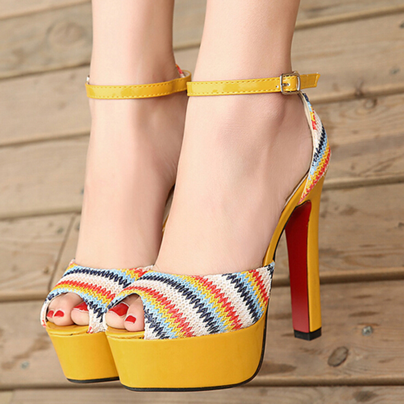 Sandals Fish Mouth Ankle Strap Open Yellow Green Red Bottoms Soled Ultra Wedding Dress Women Shoes Pumps Peep Toe High Heels<br><br>Aliexpress