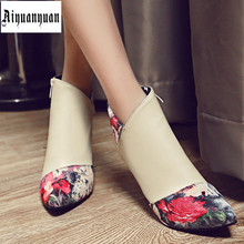 2017 Printing retro style European size 40 41 42 43 44 45 46 thin heel women PU ankle boots countries - LUKU CO. Store store