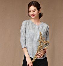 Summer Cotton Three Quarter Sleeve Loose Comfort Leisure Casual Female Women O-neck Tops Blouse Shirt(China (Mainland))