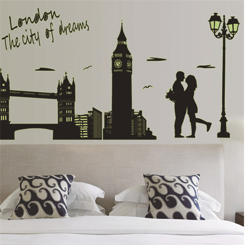 Removable Luminous Wall Sticker London Clock Tower 60CM*90CM Living room bedroom For Married Lover Wall Art Home Decor(China (Mainland))