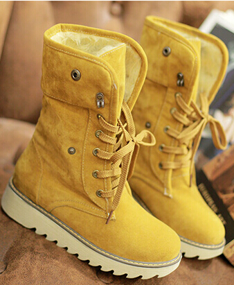 Гаджет  Women autumn winter short snow boots thick cotton-padded solid color casual flat heel lace-up shoes large plus size 40-43 None Обувь