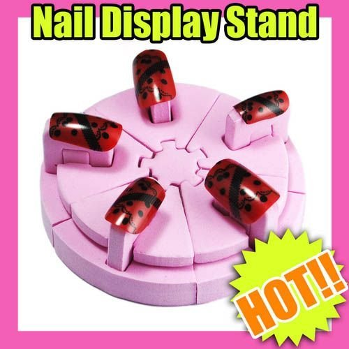 Freeshipping-Pink Nail Art Display Stand Spongy Color Chart with tape [retail] SKU:F0041X