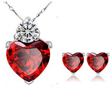 Wholesale New Fashion Jewelry White Gold Plated CZ Zircon Heart Pendant Necklace Earrings Jewelry Sets for Women Free Shipping (China (Mainland))