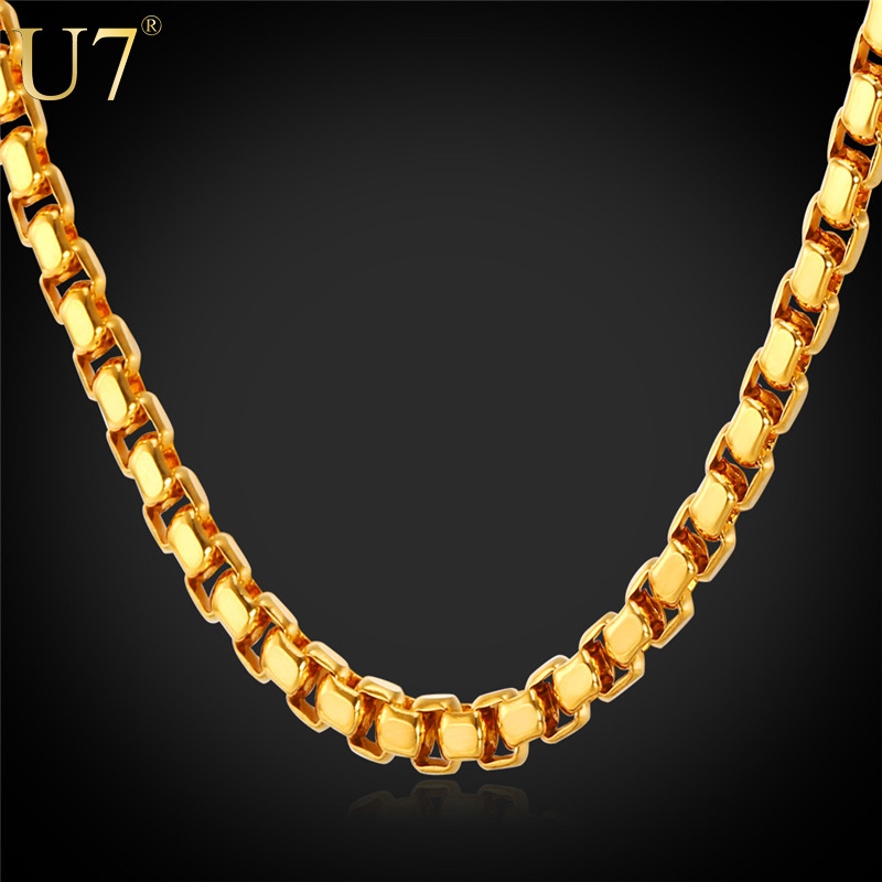 """U7 Gold Chain For Men Jewelry 2015 Stamp """"18K"""" Gold Plated Stainless Steel 55 CM Unisex Box Link Chain Necklace Wholesale N421(China (Mainland))"""