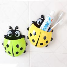 New Hot 4 colors cute ladybug cartoon sucker toothbrush holder hooks / items for home suction / brush rack / bath set  SW10(China (Mainland))