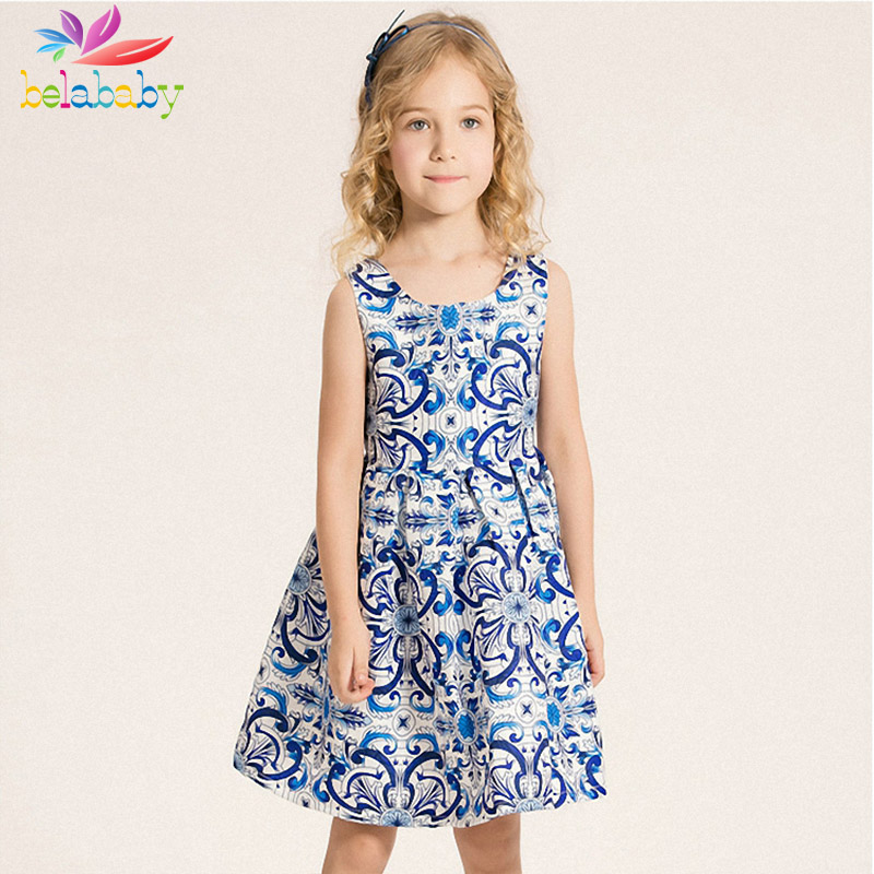 Belababy Girls Flower Printed Party Dress 2016 New Summer Princess Kids Blue and White Porcelain TuTu Dresses For Girls(China (Mainland))
