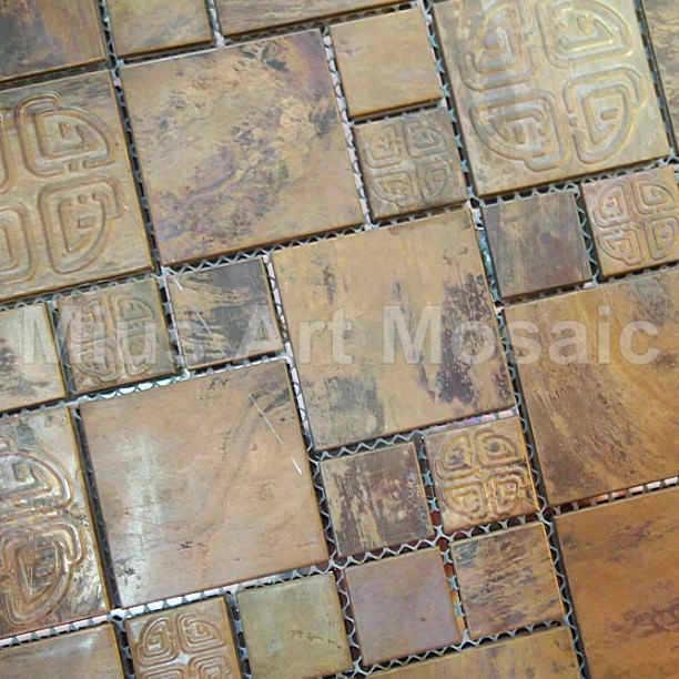 [Mius Art Mosaic] Big square Copper mosaic tile in bronze brushed for kitchen backsplash A6YB120<br><br>Aliexpress