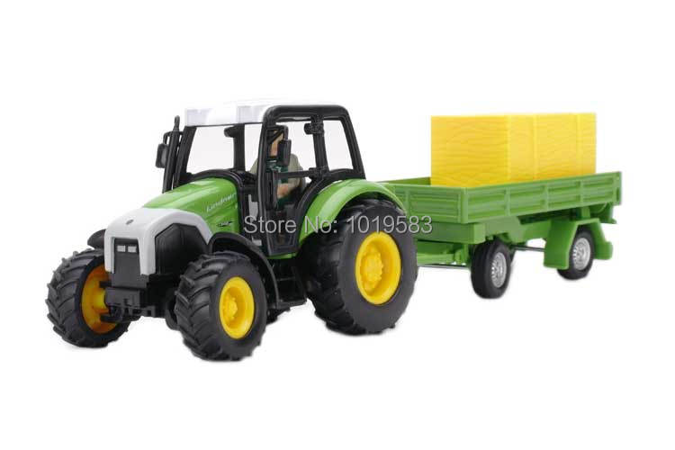 JOYCITY 1/43 Scale Farm Vehicle Model Toys Tractor With Rick Trailer Diecast Metal Car Toy NEW In Box For Kids/Gift(China (Mainland))