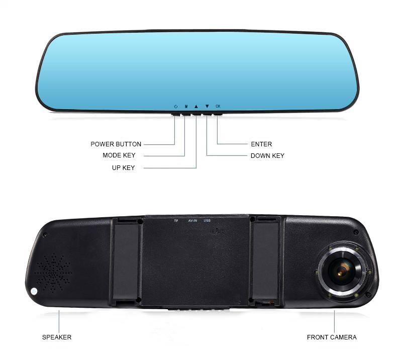 Купить E-ACE Full HD 1080 P Автомобильный Видеорегистратор Камера Зеркало С Двумя Объективами видео Рекордер Dvr Камеры Заднего Вида 10 Светодиодные Ночного Видения Тире Cam
