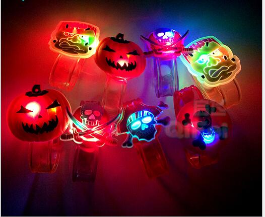 new hot fashion led Luminous cartoon bracelet PVC Hallowmas flash wrist strap children's birthday gift toy mixed(China (Mainland))