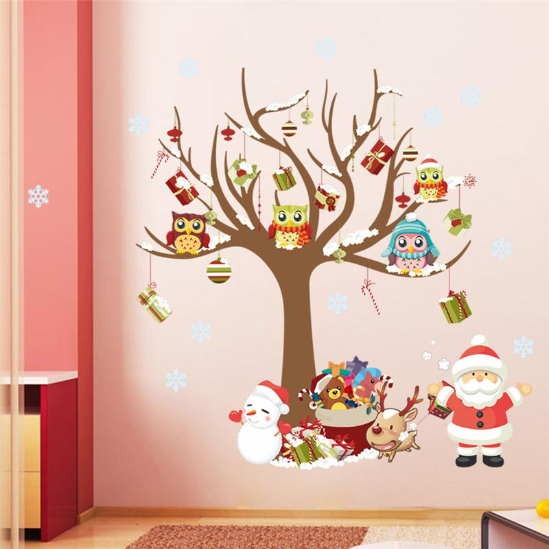 Wholesale christmas wall stickers room decor cartoon tree for Christmas wall mural plastic