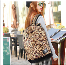2015 new Leopard Backpack students bag leopard cat ears backpack bag Girls and Women's Backpack free shipping(China (Mainland))