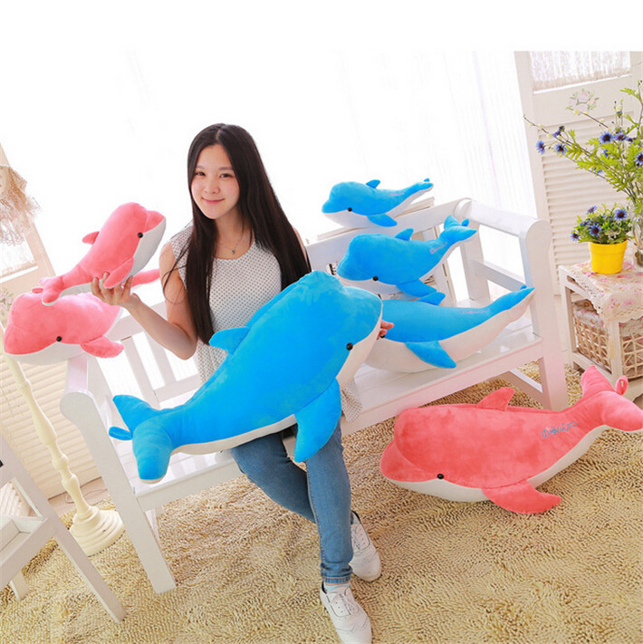 2015 new arrival hot sale 40/50/60 cm kids cute cartoon blue and pink sweetheart dolphin plush toys for lovers free shipping(China (Mainland))