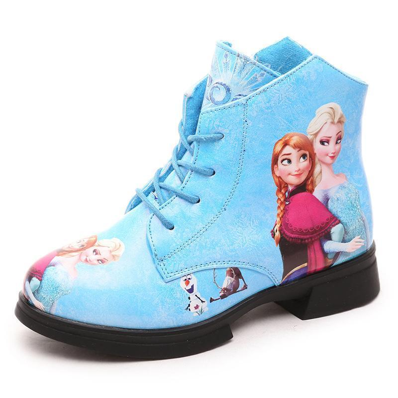New Arrival Martin boots Elsa Anna snow boot Child PU leather fashion Girls shoes kids winter sneaker Christmas gift(China (Mainland))