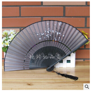 Wholesale Beautiful Real silk Double color folding Bamboo Fan HOT Selling Free shipping !(China (Mainland))