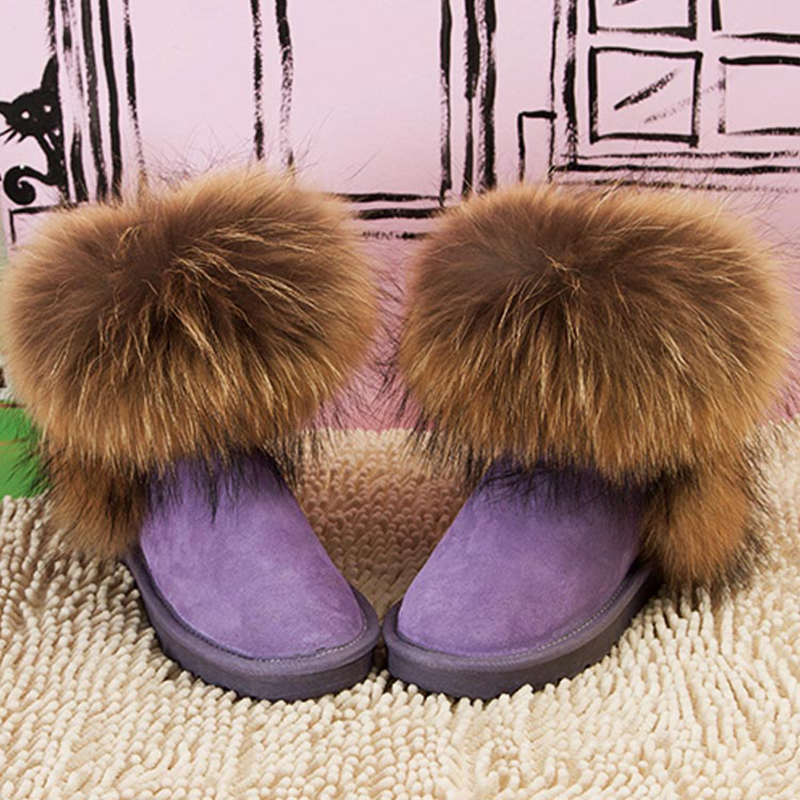 Fashion Top Quality Raccoon fur Snow Boots Women Boots Genuine Leather Winter Warm Snow Boots Ankle Boots Free Shipping(China (Mainland))