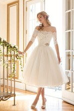 Elegant Lace/Organza Off the Shoulder Boat Neckline Half Sleeve Tea Length Vintage Wedding Dress 2016 Vestido De Noiva(China (Mainland))