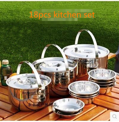18Pcs Portable Set For Camping Travel Hiking Kitchen Cooking Pots Stainless Steel Cookware Take Fast Shipping DHL(China (Mainland))