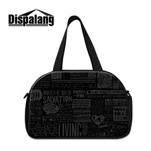 Personalized Black luggage travel bag with compartments letter design small sporty duffel bags for men for women travel bag boys(China (Mainland))