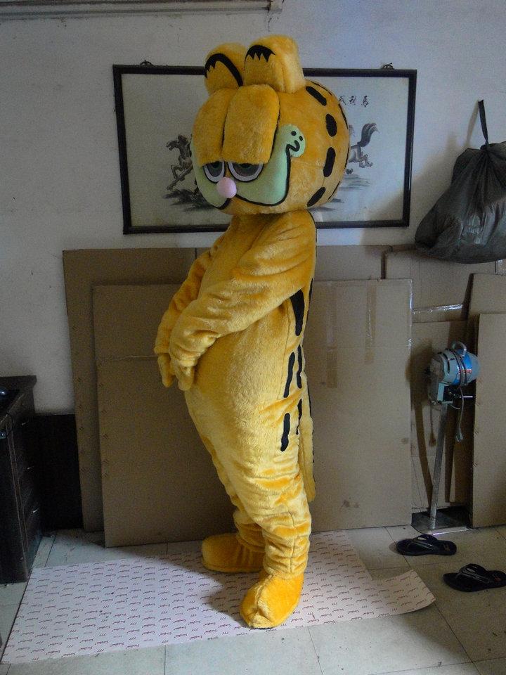 High quality long fur Garfield mascot costume Garfield Garfield mascot cartoon mascot costume adult size dress free shipping(China (Mainland))